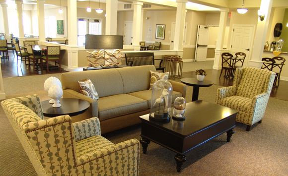 Formal Living Space In Open Plan Of Stoney Brook Senior Living Subtle  Palette Creates Aaandkdesign Commerical Interior Designers Assisted Living