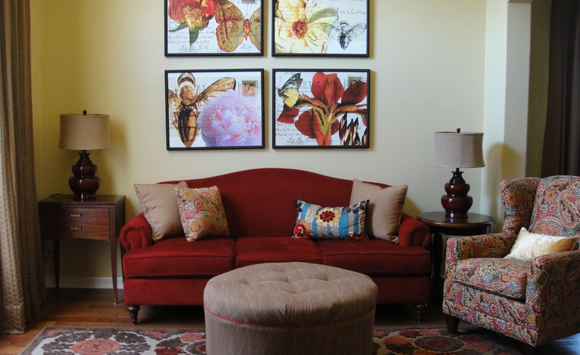 Colorful Living Room Design With Camelback Red Sofa Antique End Table Added Accent Rug